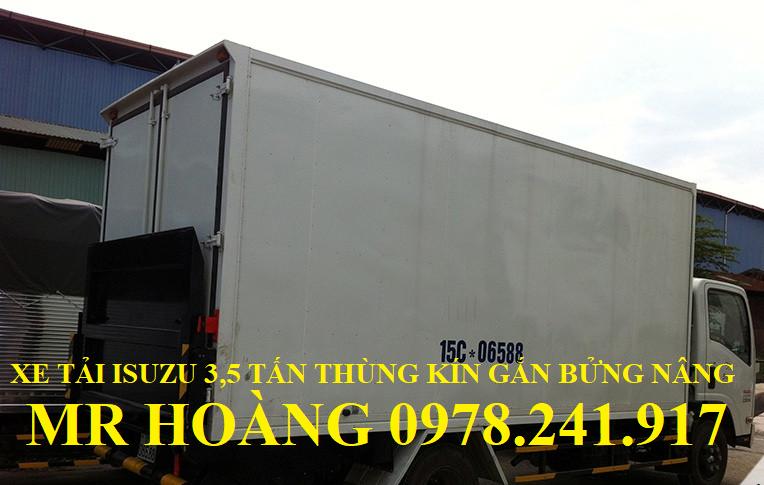 xe tải isuzu 3,5 tấn thùng kín gắn bửng nâng hạ