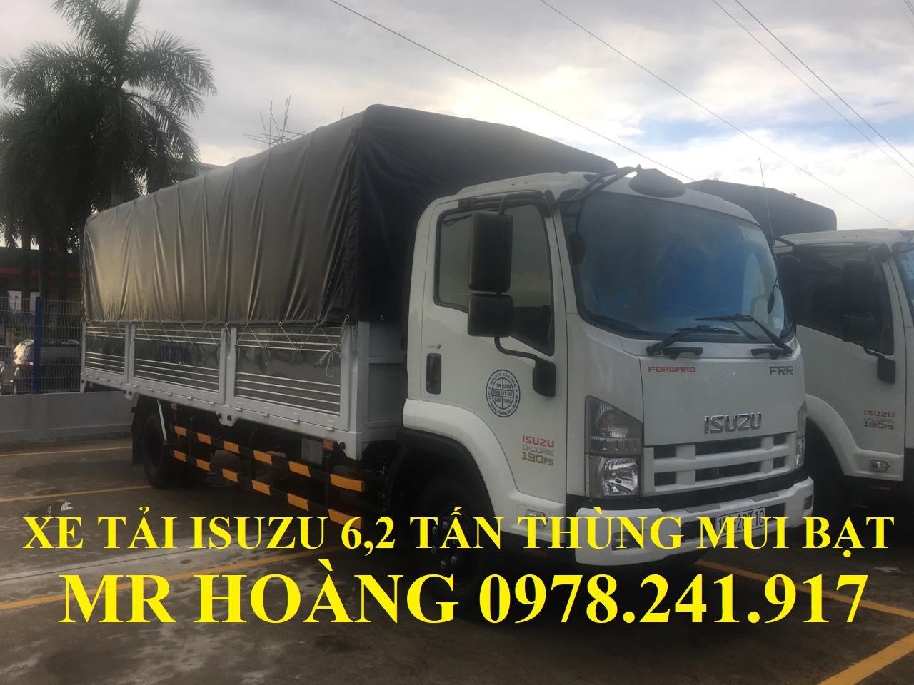 xe tải isuzu 6,2 tấn thùng mui bạt