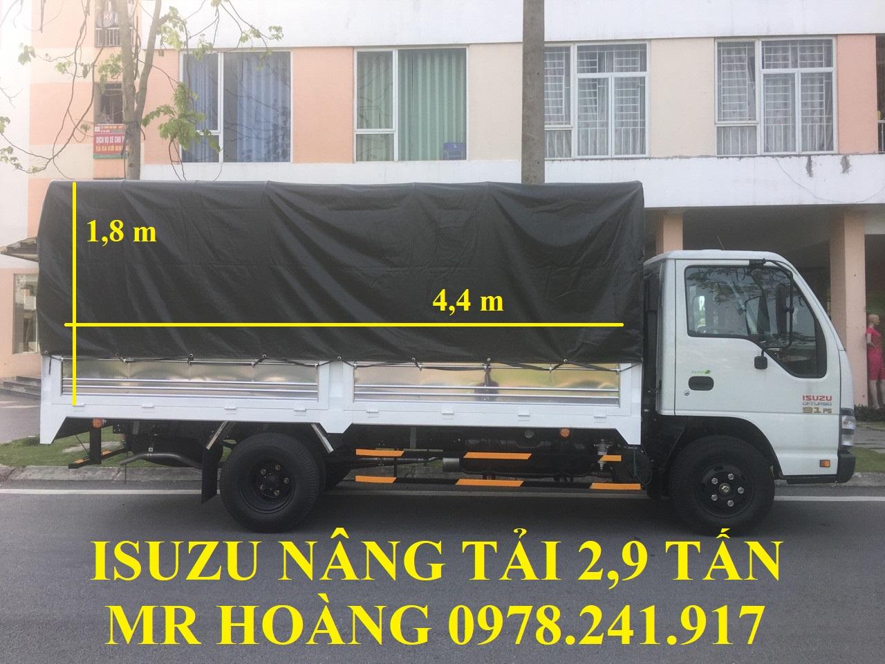 xe tải isuzu 2,9 tấn nâng tải qkr55h-16 thùng mui bạt