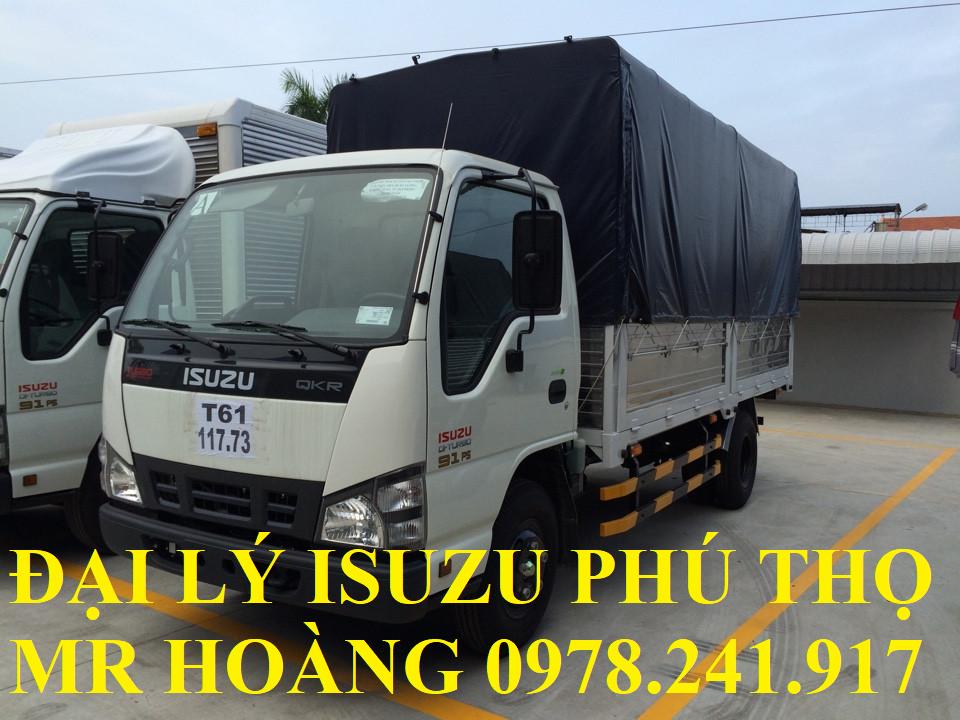đại lý isuzu phú thọ bán xe tải isuzu 1,9 tấn thùng mui bạt