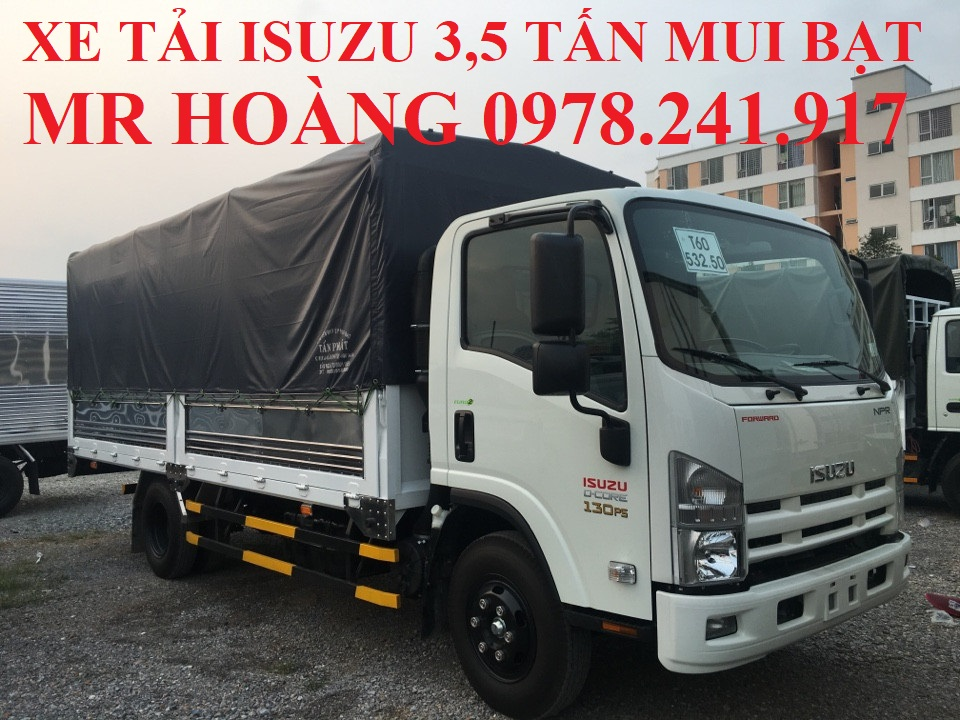 xe tải isuzu 3,5 tấn thùng mui bạt
