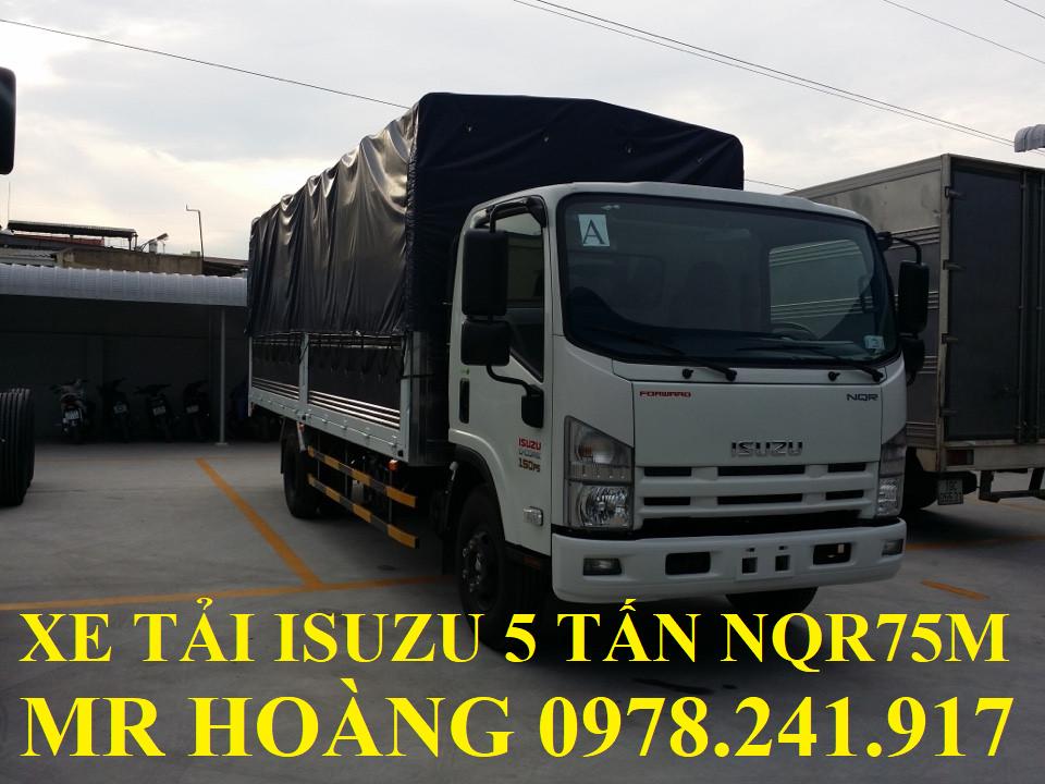 xe tải isuzu 5 tấn nqr75m thùng mui bạt