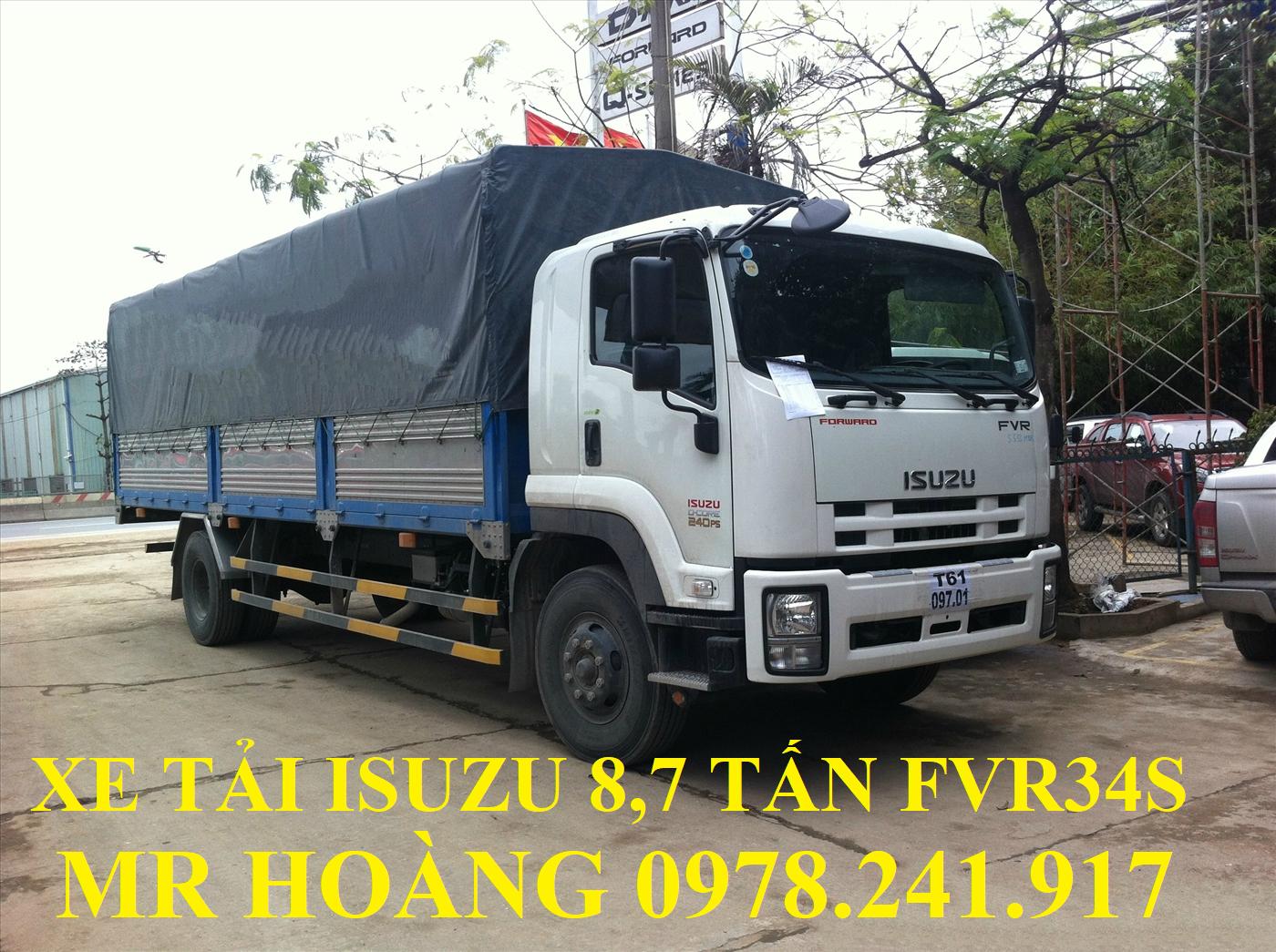 xe tải isuzu 8,7 tấn fvr34s thùng mui bạt dài 8,7 m