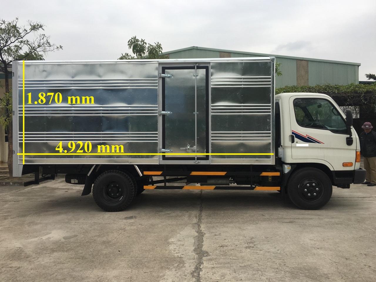 xe tải hyundai 6,4 tấn hd650 kết cấu thùng 1