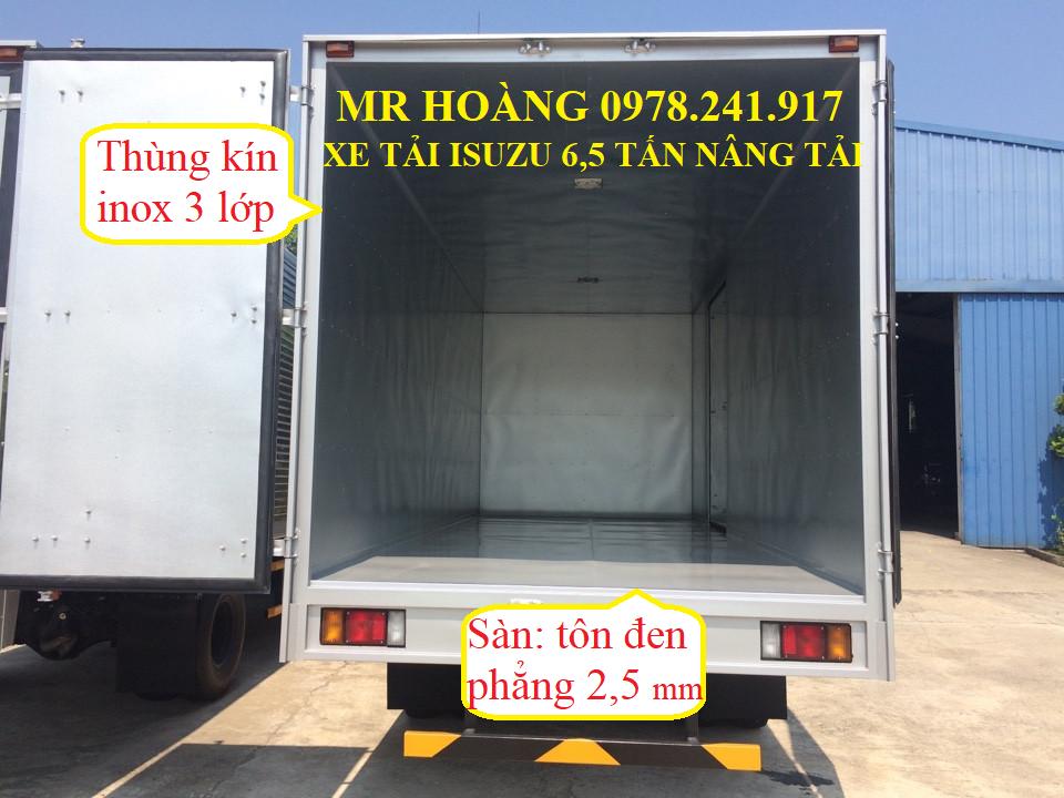 xe tải isuzu 6,5 tấn nâng tải nqr75m-16 kết cấu thùng 1