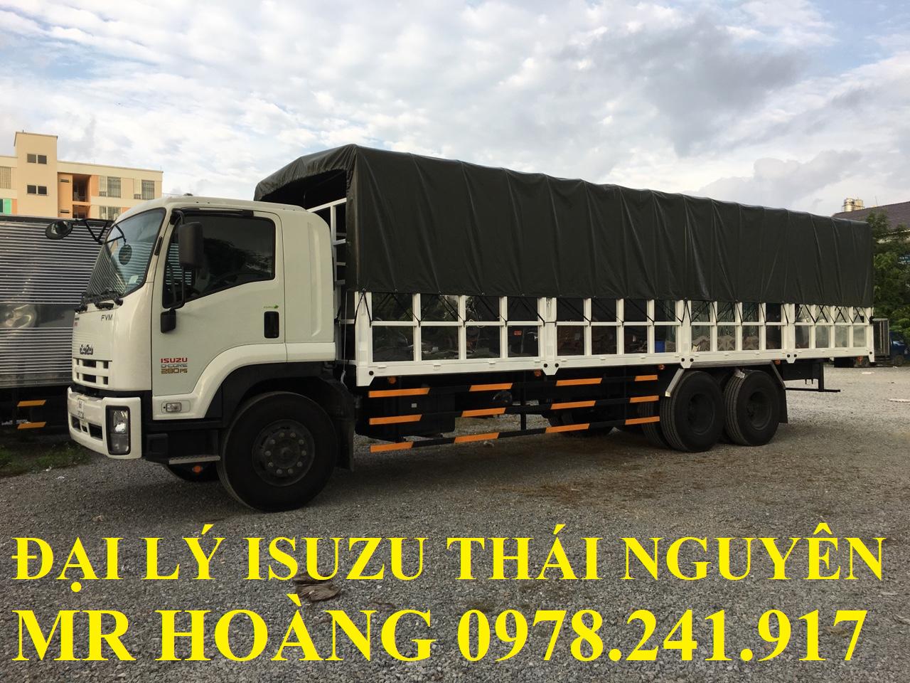 đại lý isuzu thái nguyên bán xe tải isuzu 15 tấn thùng mui bạt