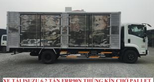 xe tải isuzu 6,2 tấn frr90n thùng kín chở pallet cấu kiện