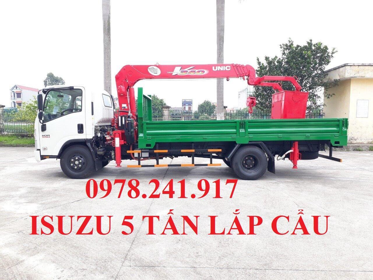 xe tải isuzu 5 tấn NQR75M lắp cẩu unic