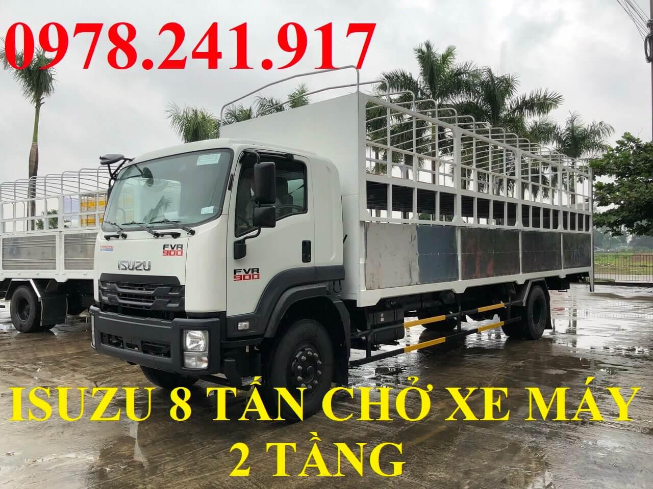 xe tải isuzu 8 tấn thùng chở xe máy 2 tầng