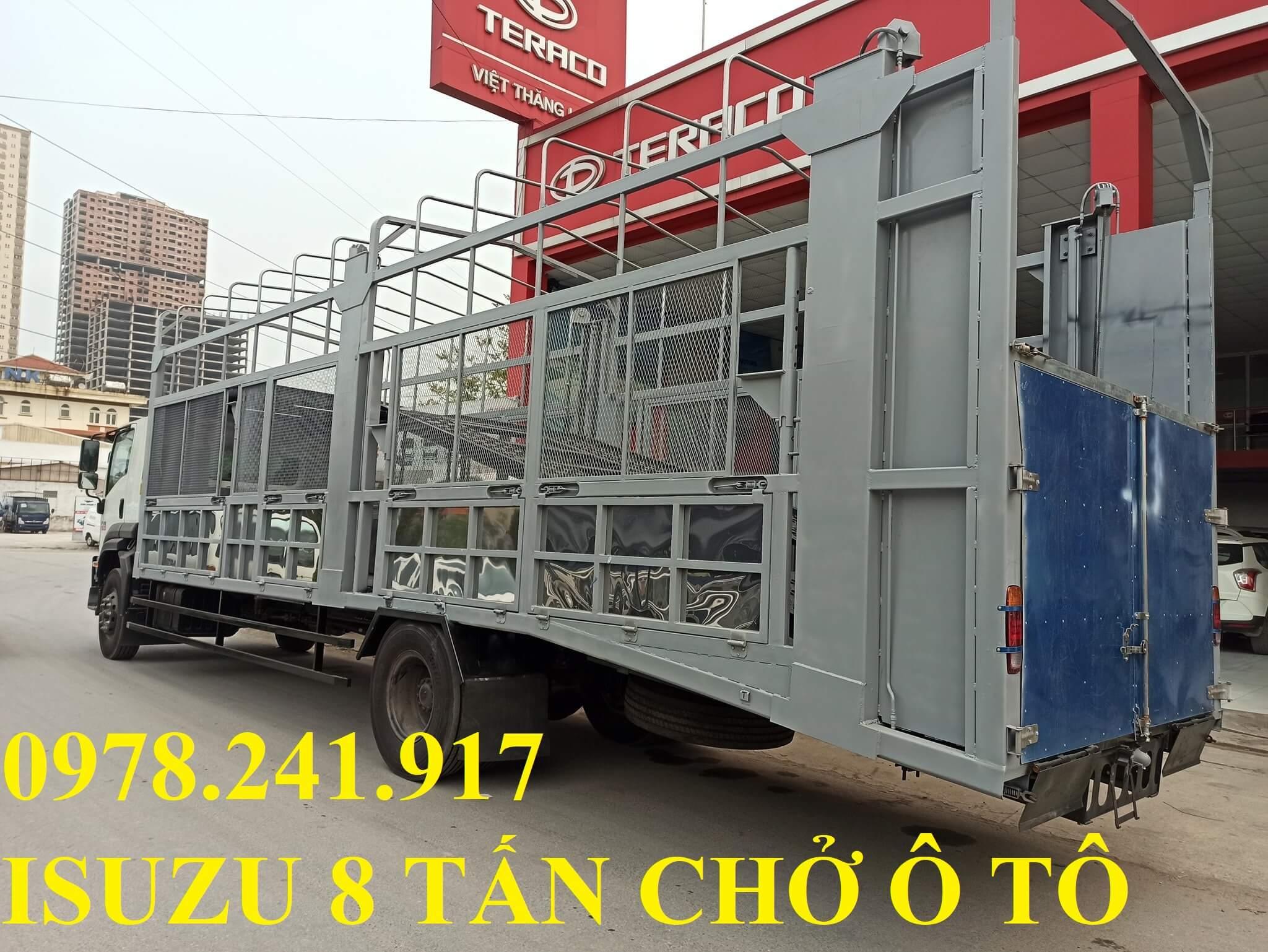 xe tải isuzu 8 tấn thùng cõng chở ô tô 2 tầng
