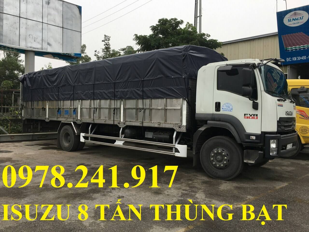 xe tải isuzu 8 tấn thùng mui phủ bạt
